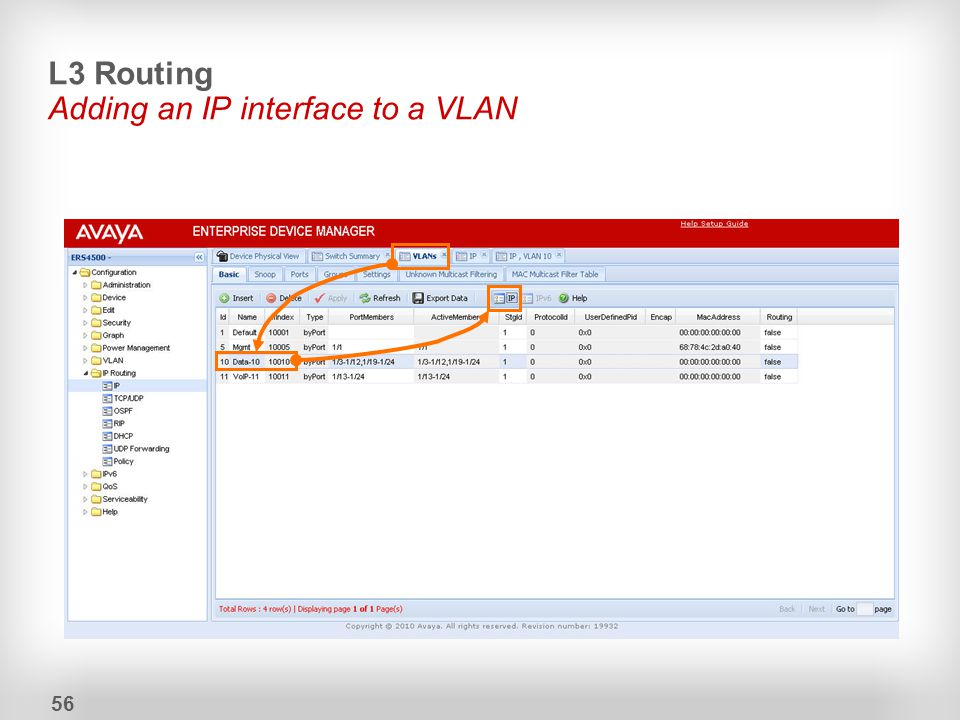 L3 Routing Adding an IP interface to a VLAN