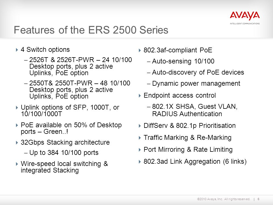 Features of the ERS 2500 Series