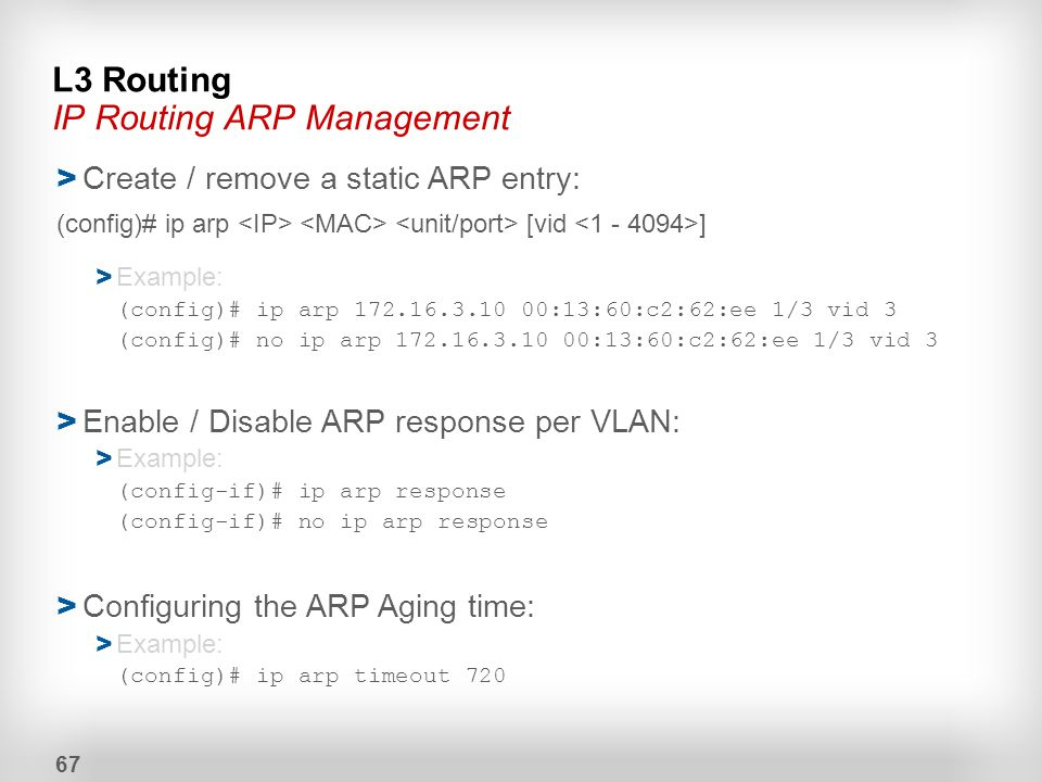 L3 Routing IP Routing ARP Management
