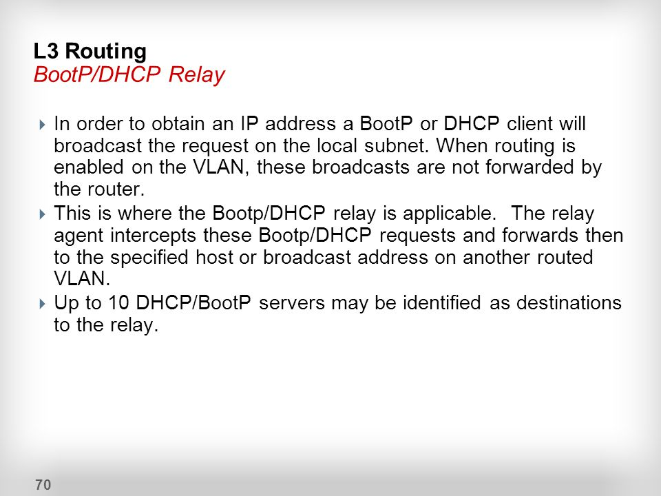 L3 Routing BootP/DHCP Relay