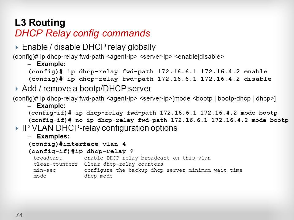 L3 Routing DHCP Relay config commands