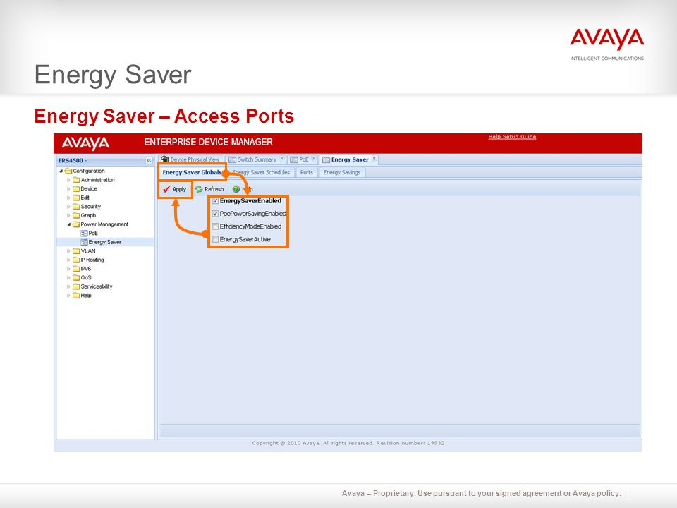 Energy Saver Energy Saver – Access Ports