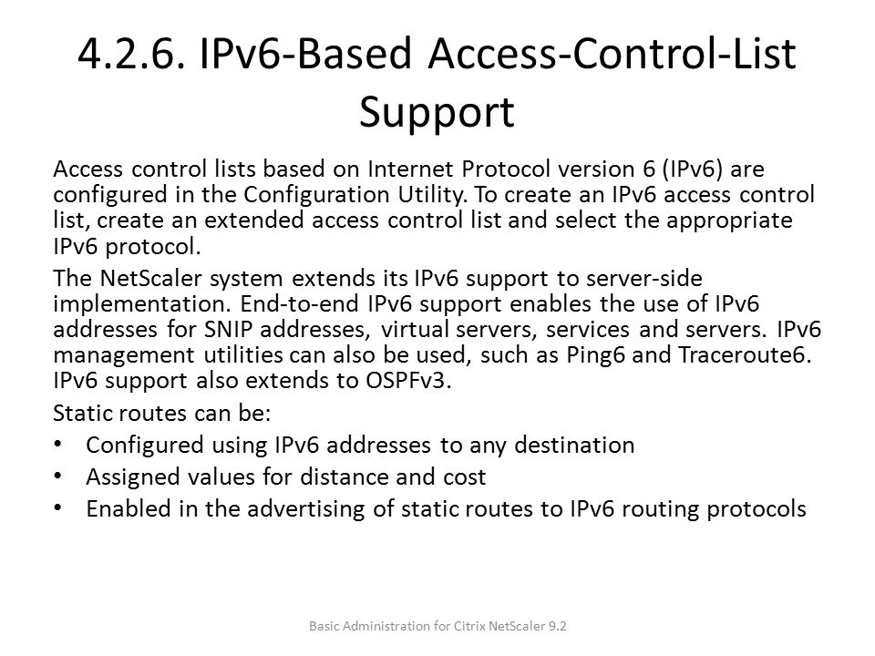 4.2.6. IPv6-Based Access-Control-List Support