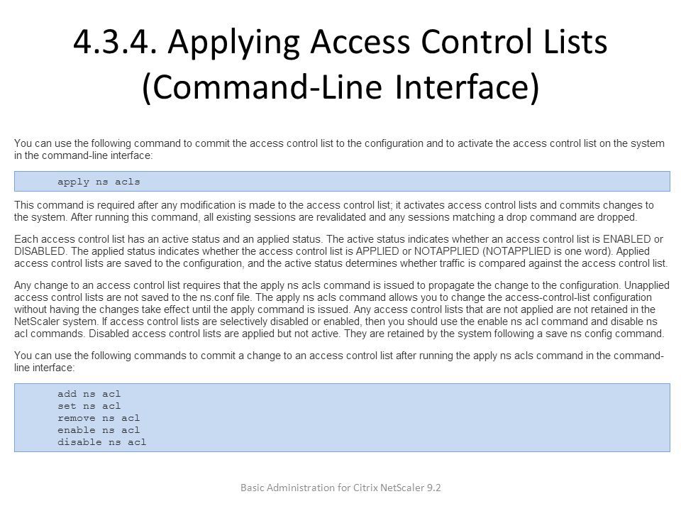 4.3.4. Applying Access Control Lists (Command-Line Interface)