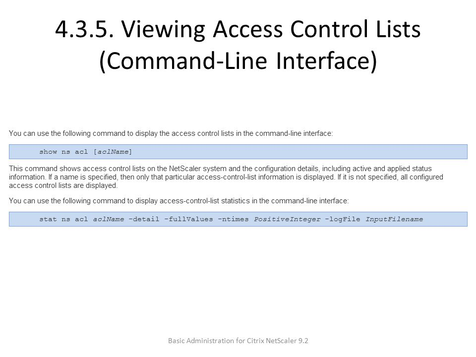 4.3.5. Viewing Access Control Lists (Command-Line Interface)