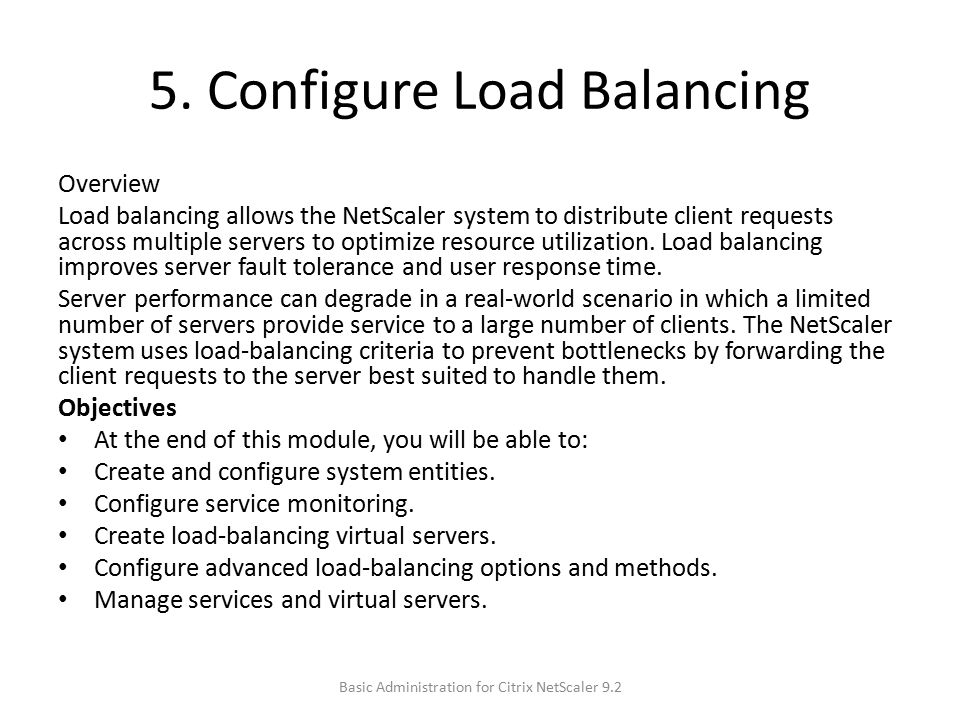 5. Configure Load Balancing