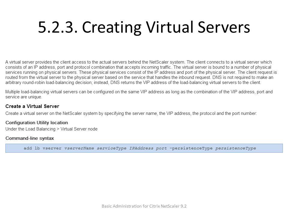 5.2.3. Creating Virtual Servers