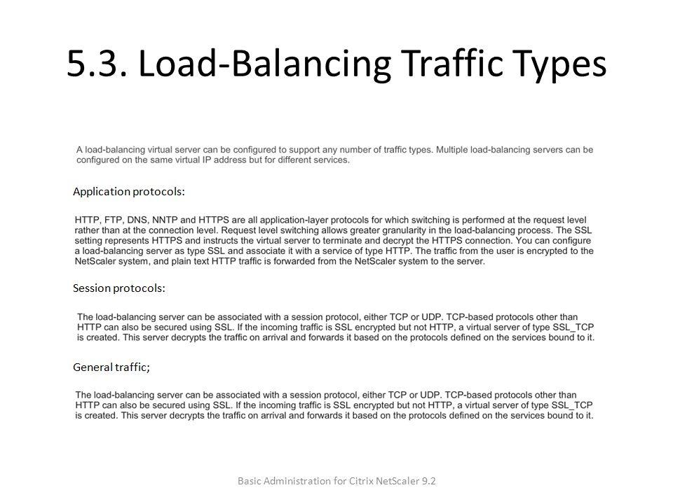 5.3. Load-Balancing Traffic Types