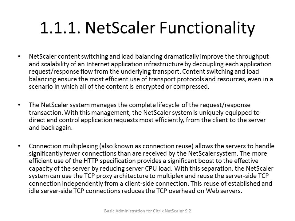 1.1.1. NetScaler Functionality