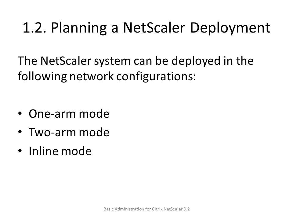 1.2. Planning a NetScaler Deployment