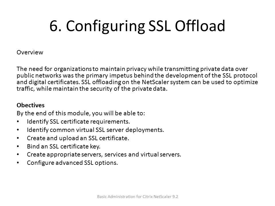 6. Configuring SSL Offload