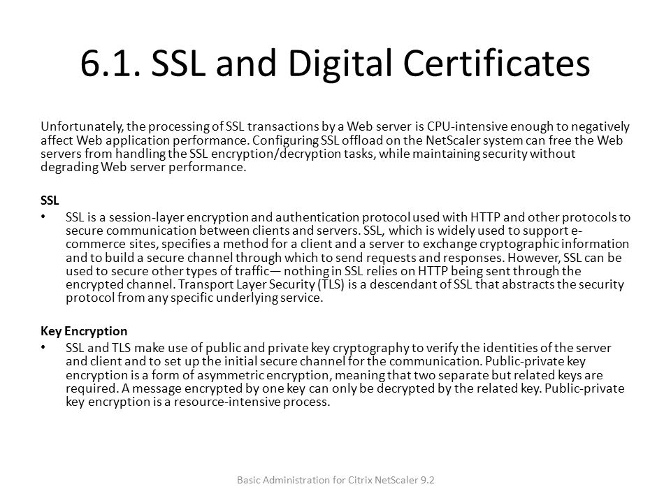 6.1. SSL and Digital Certificates