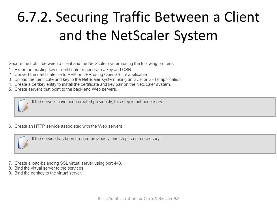 6.7.2. Securing Traffic Between a Client and the NetScaler System
