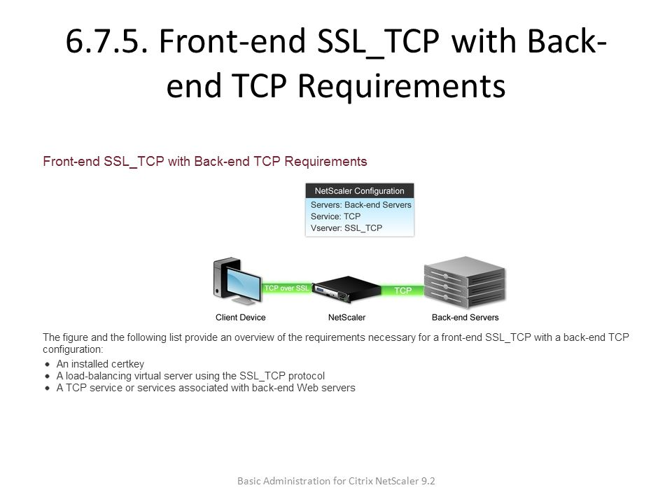 6.7.5. Front-end SSL_TCP with Back-end TCP Requirements