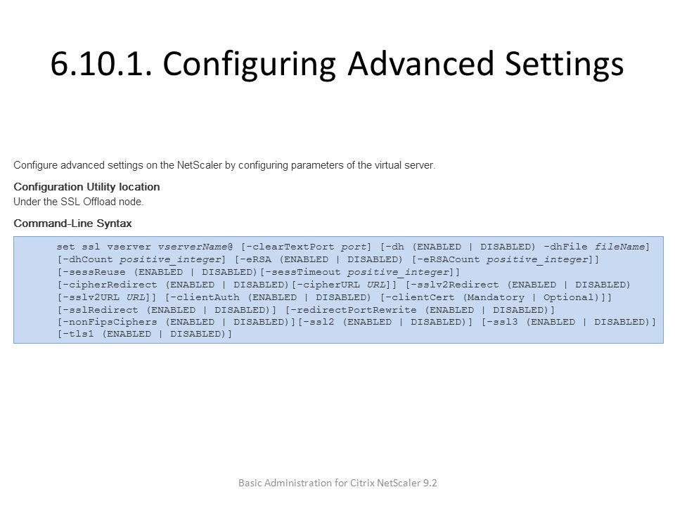 6.10.1. Configuring Advanced Settings