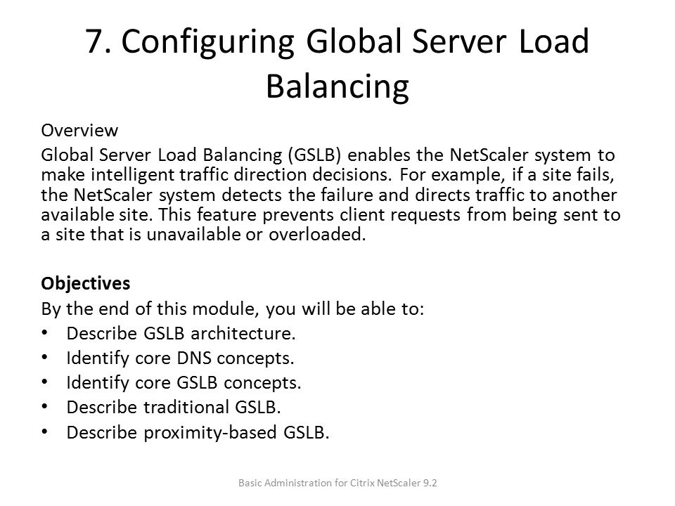 7. Configuring Global Server Load Balancing