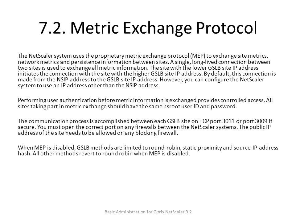 7.2. Metric Exchange Protocol