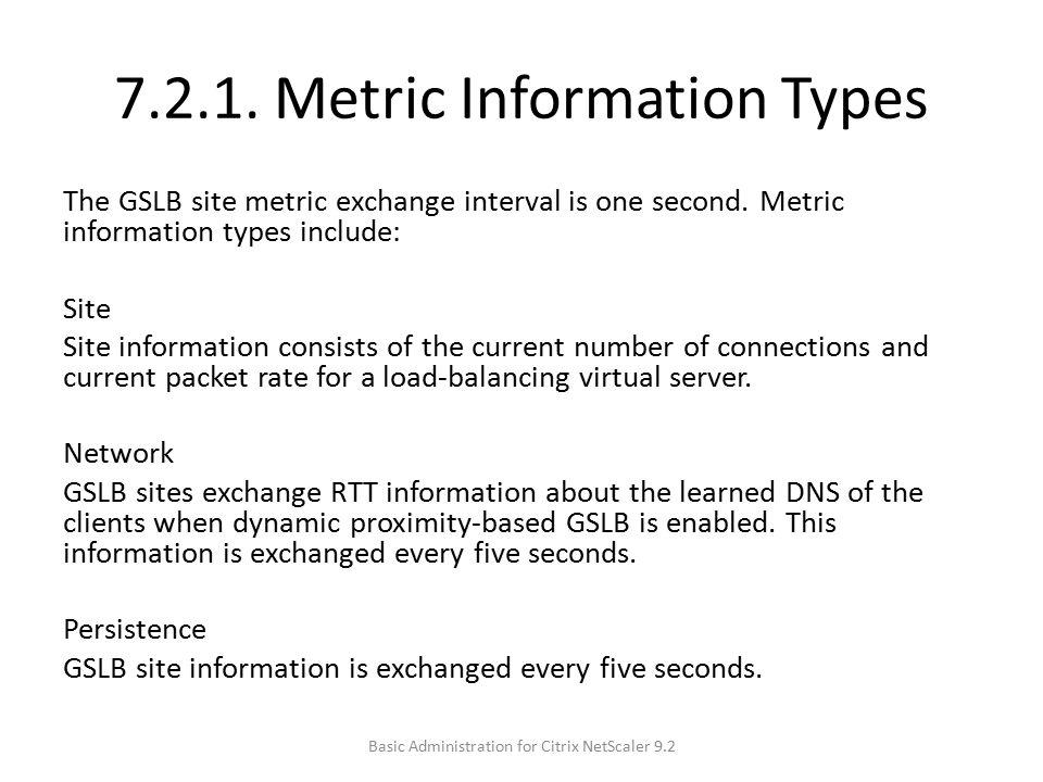 7.2.1. Metric Information Types