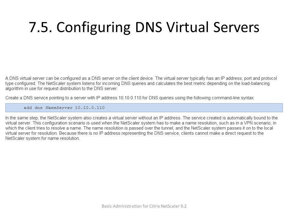 7.5. Configuring DNS Virtual Servers