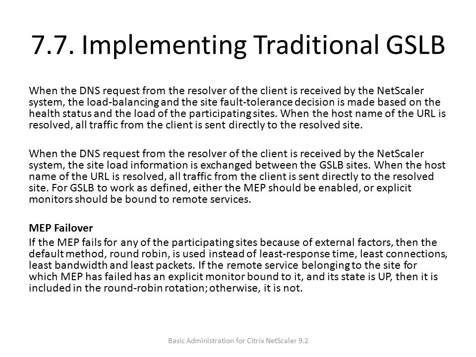 7.7. Implementing Traditional GSLB