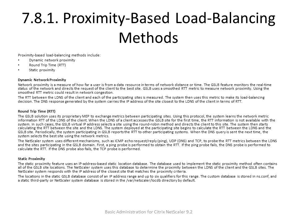 7.8.1. Proximity-Based Load-Balancing Methods