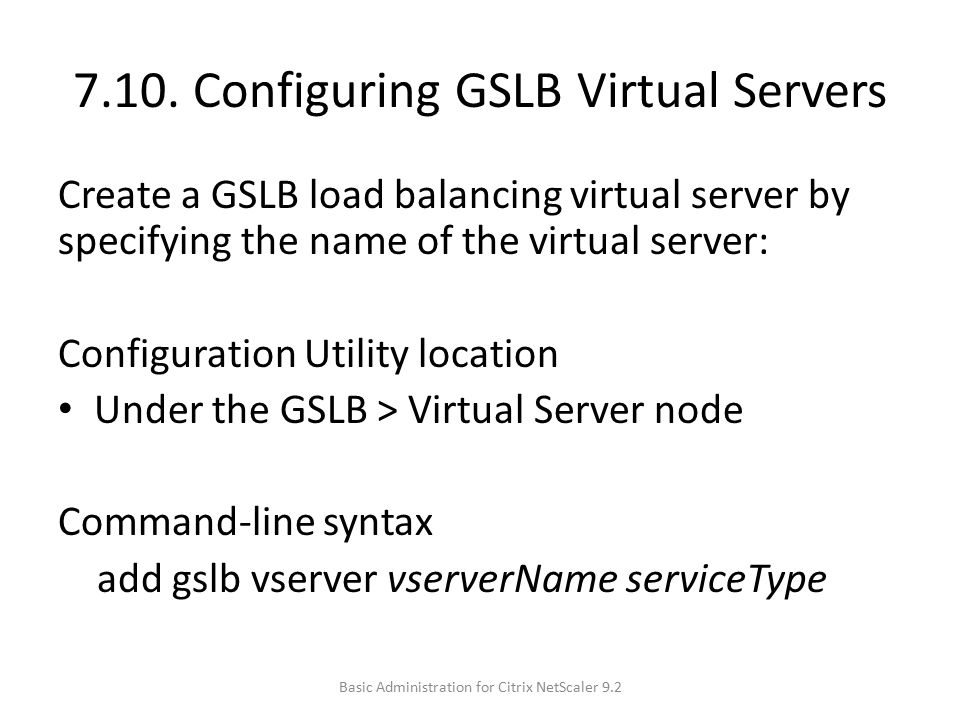 7.10. Configuring GSLB Virtual Servers