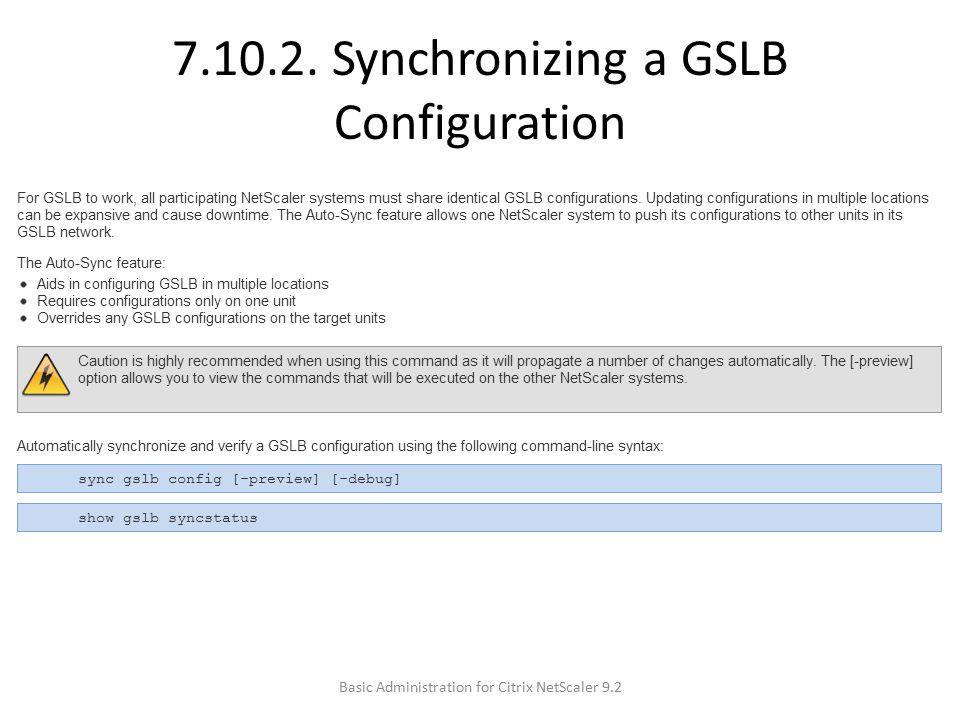 7.10.2. Synchronizing a GSLB Configuration