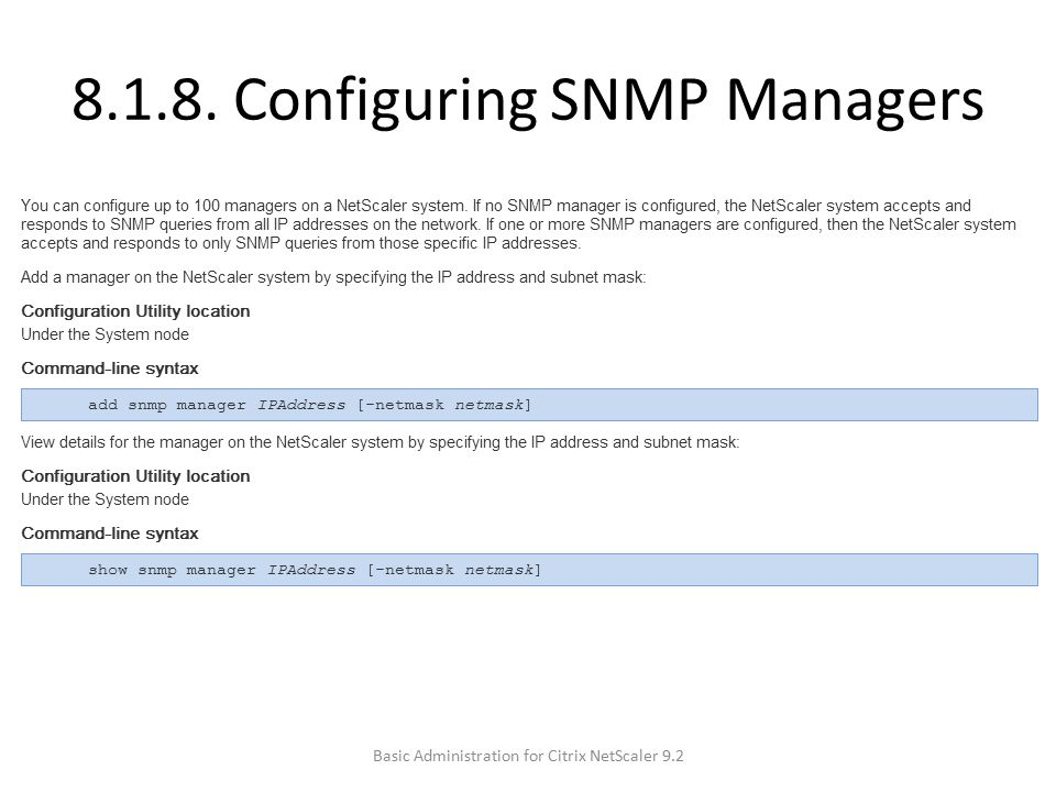 8.1.8. Configuring SNMP Managers