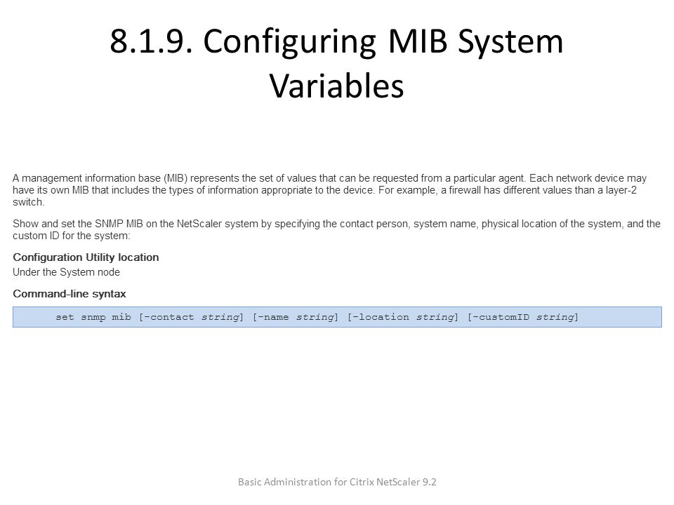 8.1.9. Configuring MIB System Variables
