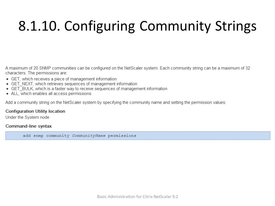8.1.10. Configuring Community Strings