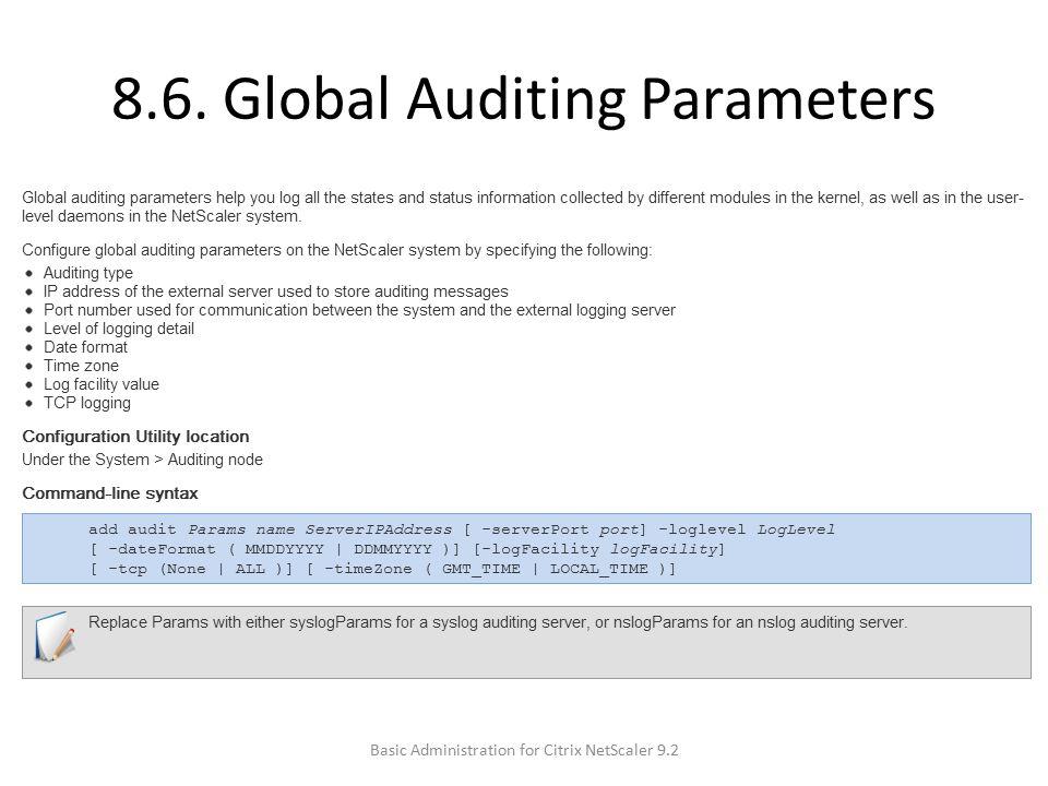 8.6. Global Auditing Parameters