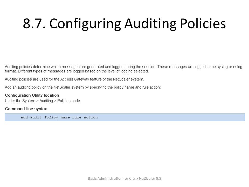 8.7. Configuring Auditing Policies