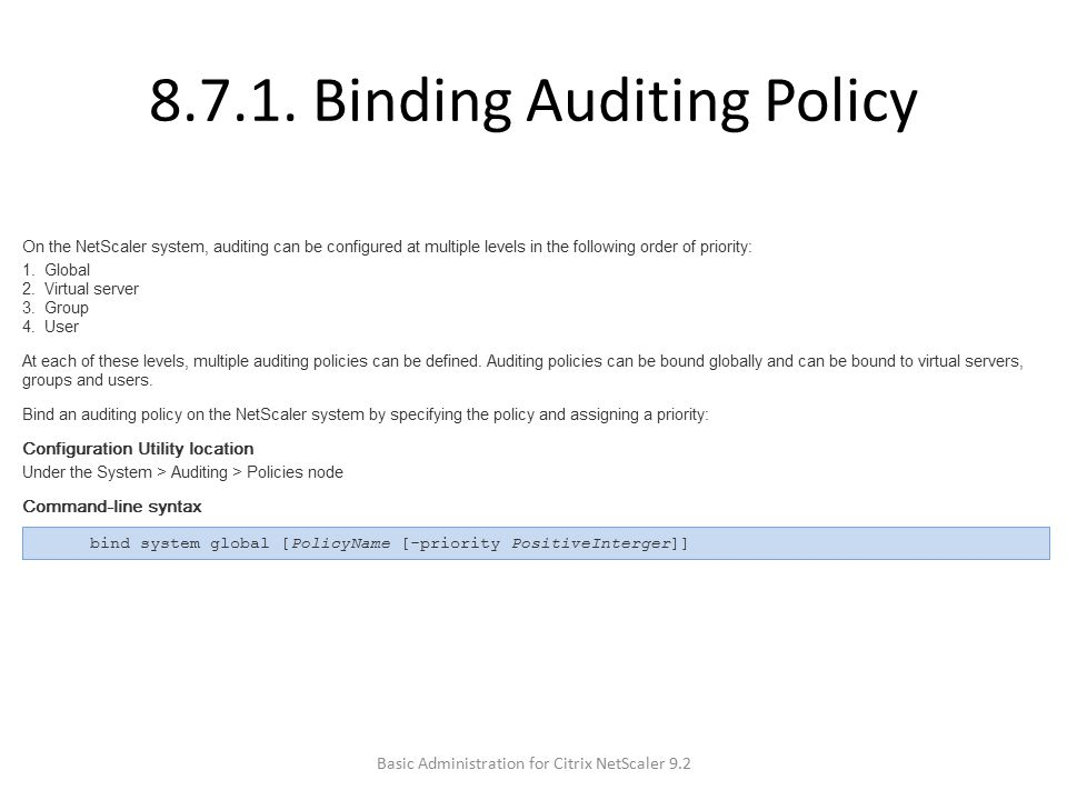 8.7.1. Binding Auditing Policy