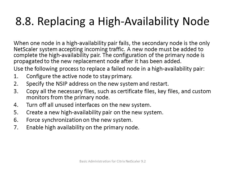 8.8. Replacing a High-Availability Node