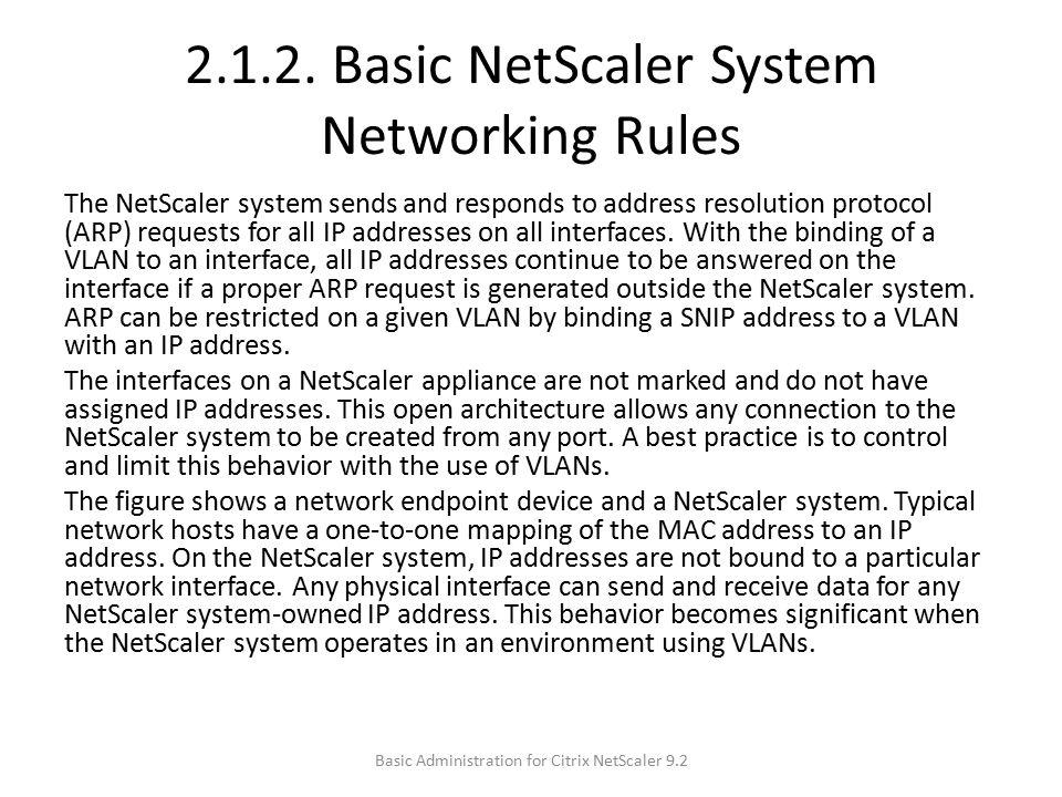 2.1.2. Basic NetScaler System Networking Rules