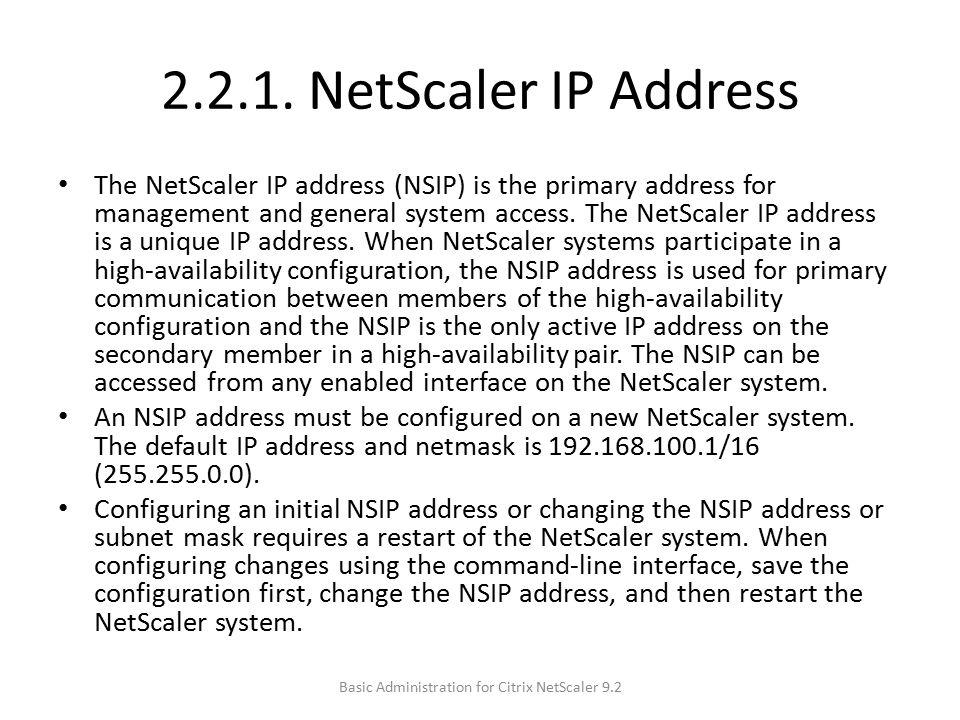 Basic Administration for Citrix NetScaler 9.2