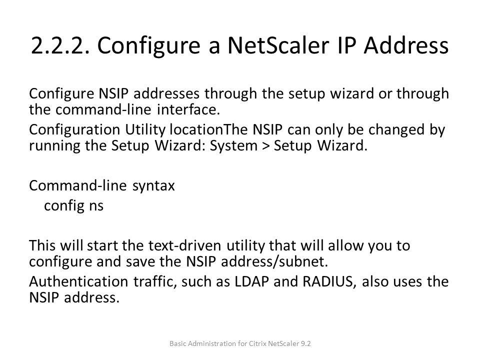 2.2.2. Configure a NetScaler IP Address