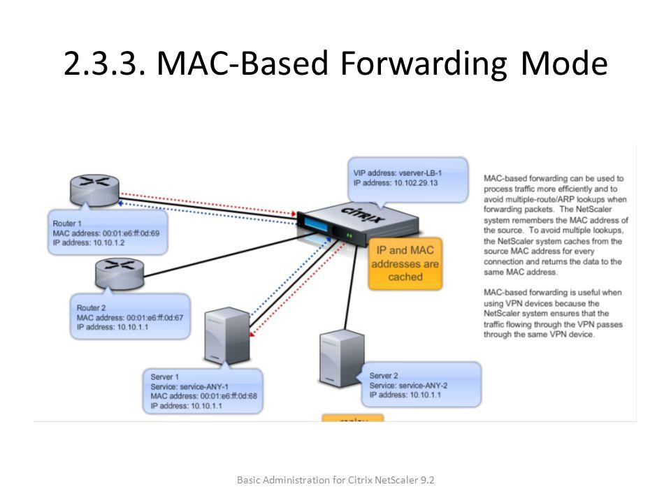 2.3.3. MAC-Based Forwarding Mode