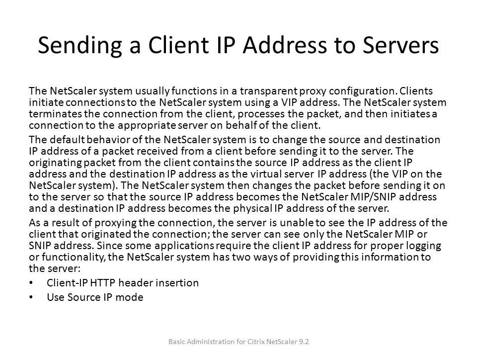 Sending a Client IP Address to Servers