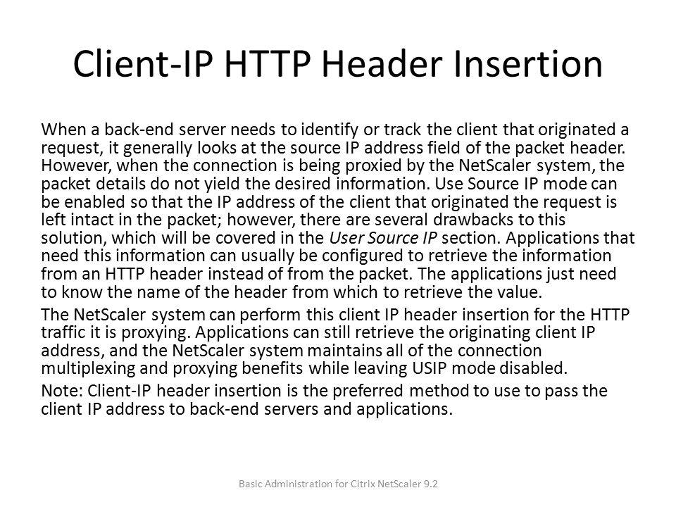 Client-IP HTTP Header Insertion