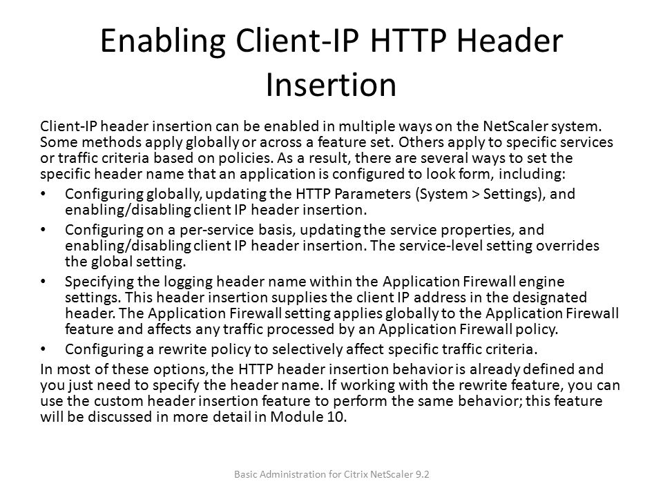 Enabling Client-IP HTTP Header Insertion