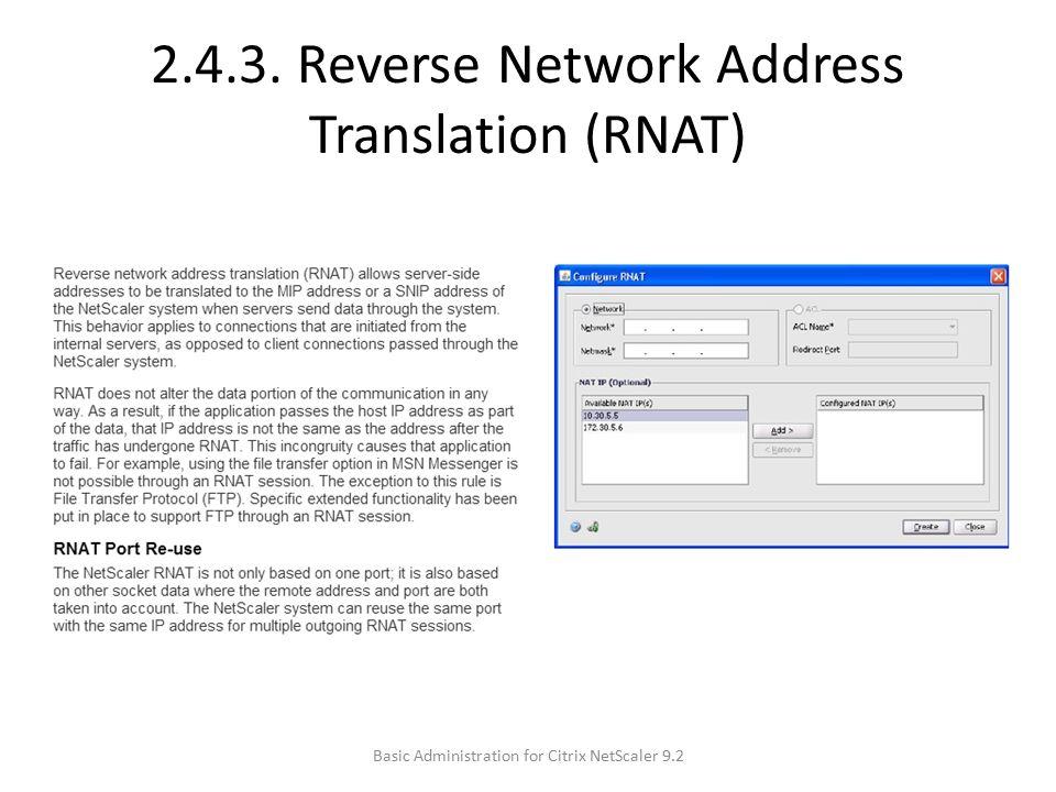 2.4.3. Reverse Network Address Translation (RNAT)