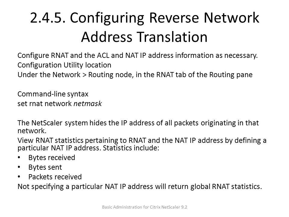 2.4.5. Configuring Reverse Network Address Translation