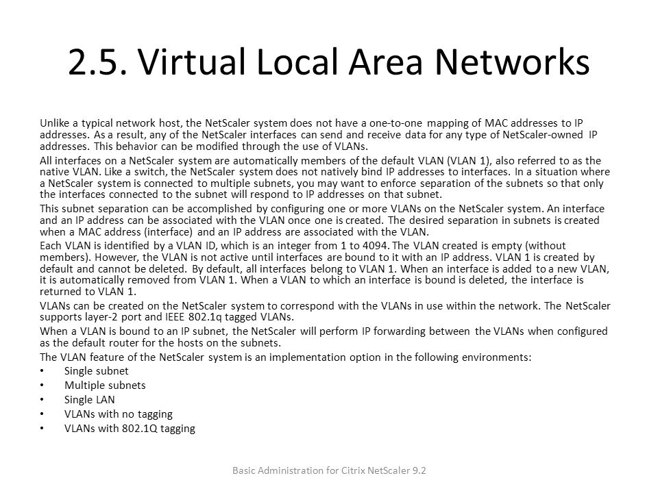 2.5. Virtual Local Area Networks