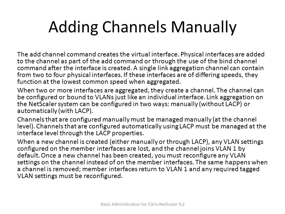 Adding Channels Manually