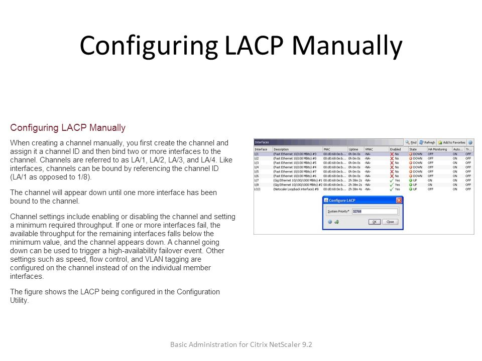 Configuring LACP Manually