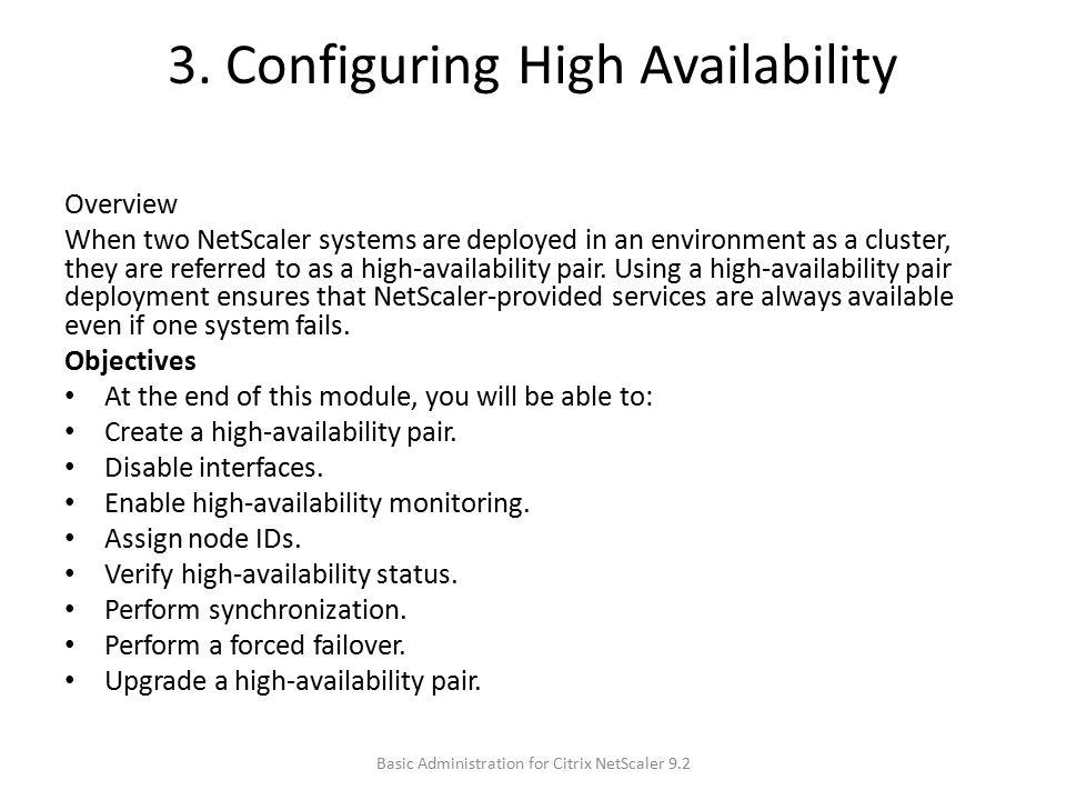3. Configuring High Availability