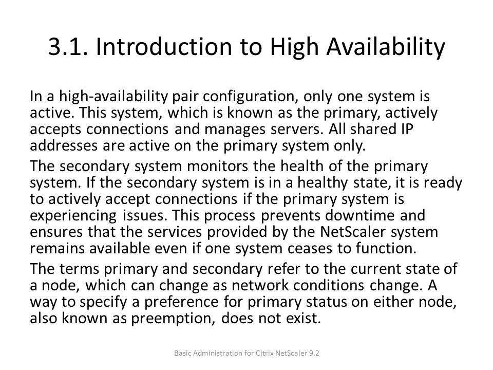 3.1. Introduction to High Availability