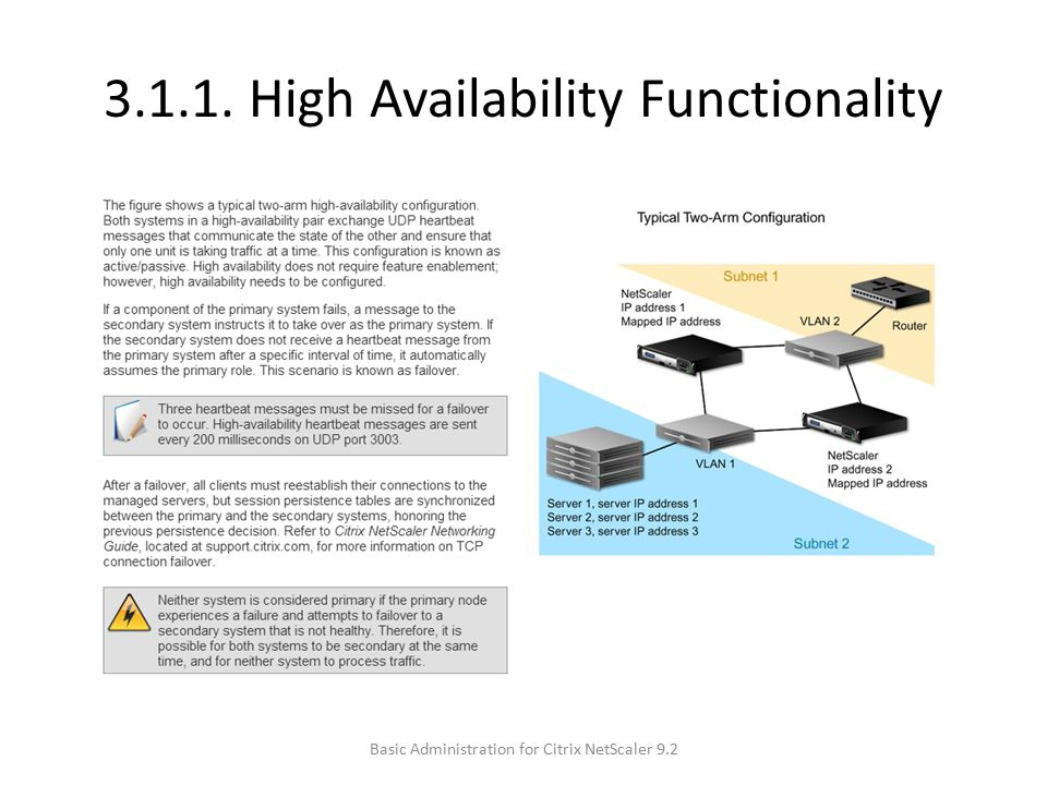 3.1.1. High Availability Functionality