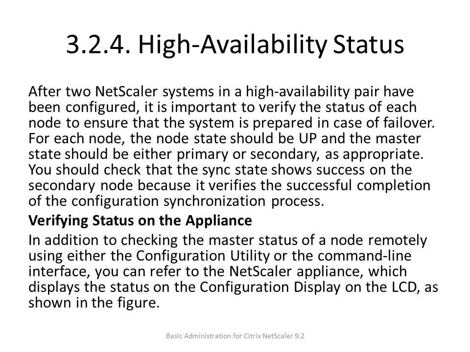 3.2.4. High-Availability Status